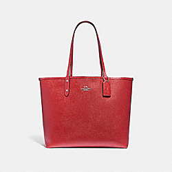REVERSIBLE CITY TOTE IN SIGNATURE AND METALLIC CANVAS - f25849 - brown/metallic hot pink/silver