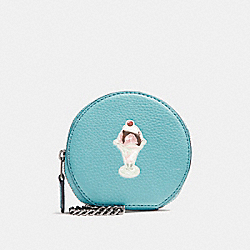 COACH F25851 Round Coin Case With Ice Cream Sundae Motif BLUE GREEN/BLACK ANTIQUE NICKEL