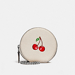 COACH F25852 Round Coin Case With Cherry CHALK MULTI/SILVER