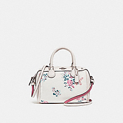 MICRO MINI BENNETT SATCHEL WITH CROSS STITCH FLORAL PRINT - f25854 - SILVER/CHALK MULTI