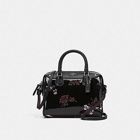 COACH f25854 MICRO MINI BENNETT SATCHEL WITH CROSS STITCH FLORAL PRINT SILVER/BLACK MULTI