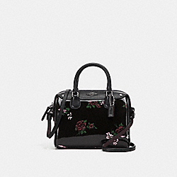 MICRO MINI BENNETT SATCHEL WITH CROSS STITCH FLORAL PRINT - f25854 - SILVER/BLACK MULTI