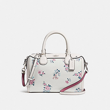 COACH f25856 MINI BENNETT SATCHEL WITH CROSS STITCH FLORAL PRINT<br>蔻驰小贝内特挎包跨针印花 银/粉笔多