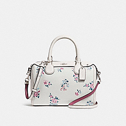 MINI BENNETT SATCHEL WITH CROSS STITCH FLORAL PRINT - f25856 - SILVER/CHALK MULTI