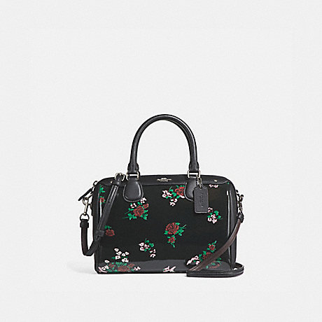 COACH f25856 MINI BENNETT SATCHEL WITH CROSS STITCH FLORAL PRINT SILVER/BLACK MULTI