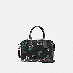 MINI BENNETT SATCHEL WITH CROSS STITCH FLORAL PRINT - f25856 - SILVER/BLACK MULTI