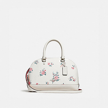 COACH f25857 MINI SIERRA SATCHEL WITH CROSS STITCH FLORAL PRINT<br>蔻驰小塞拉挎包跨针印花 银/粉笔多