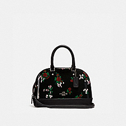 MINI SIERRA SATCHEL WITH CROSS STITCH FLORAL PRINT - f25857 - SILVER/BLACK MULTI