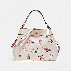 SMALL LEXY SHOULDER BAG WITH CROSS STITCH FLORAL PRINT - f25858 - LIGHT GOLD/CHALK MULTI