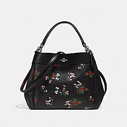 SMALL LEXY SHOULDER BAG WITH CROSS STITCH FLORAL PRINT - f25858 - SILVER/BLACK MULTI