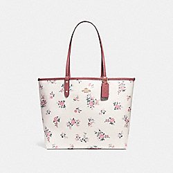 COACH F25860 Reversible City Tote With Cross Stitch Floral LIGHT GOLD/CHALK MULTI