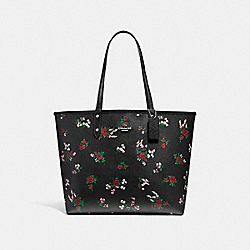 REVERSIBLE CITY TOTE WITH CROSS STITCH FLORAL - f25860 - SILVER/BLACK MULTI