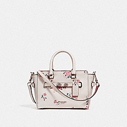 MINI BLAKE CARRYALL WITH CROSS STITCH FLORAL - f25862 - SILVER/CHALK MULTI