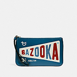COACH F25866 Large Wristlet With Bazooka™ Motif SILVER/INK