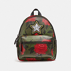 COACH F25869 Mini Charlie Backpack With Camo Rose Floral Print BLACK ANTIQUE NICKEL/RED MULTI