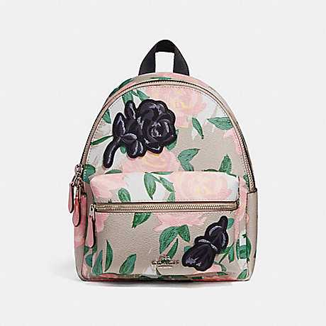 COACH f25869 MINI CHARLIE BACKPACK WITH CAMO ROSE FLORAL PRINT SILVER/BLUSH MULTI