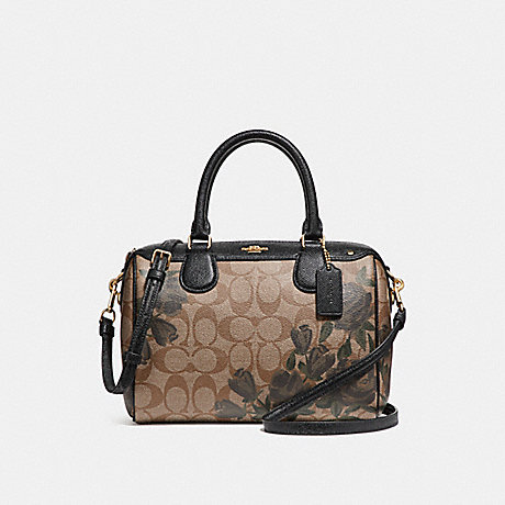 COACH f25870 MINI BENNETT SATCHEL WITH CAMO ROSE FLORAL PRINT LIGHT GOLD/KHAKI