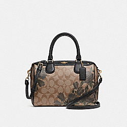 MINI BENNETT SATCHEL WITH CAMO ROSE FLORAL PRINT - f25870 - LIGHT GOLD/KHAKI