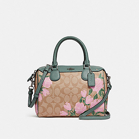 COACH f25870 MINI BENNETT SATCHEL WITH CAMO ROSE FLORAL PRINT<br>蔻驰小贝内特挎包迷彩玫瑰花纹 银光脸红色多