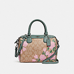 MINI BENNETT SATCHEL WITH CAMO ROSE FLORAL PRINT - f25870 - SILVER/LIGHT KHAKI BLUSH MULTI