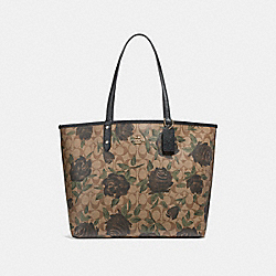 REVERSIBLE CITY TOTE WITH CAMO ROSE FLORAL PRINT - f25874 - LIGHT GOLD/KHAKI