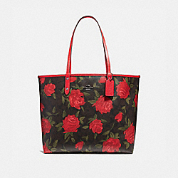 REVERSIBLE CITY TOTE WITH CAMO ROSE FLORAL PRINT - f25874 - BLACK ANTIQUE NICKEL/BROWN RED MULTI
