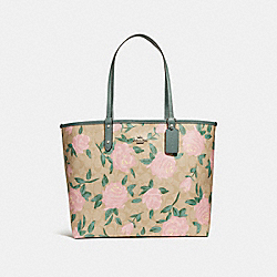 REVERSIBLE CITY TOTE WITH CAMO ROSE FLORAL PRINT - f25874 - SILVER/LIGHT KHAKI BLUSH MULTI