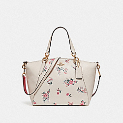 SMALL KELSEY SATCHEL WITH CROSS STITCH FLORAL PRINT - f25875 - LIGHT GOLD/CHALK MULTI
