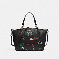 SMALL KELSEY SATCHEL WITH CROSS STITCH FLORAL PRINT - f25875 - SILVER/BLACK MULTI