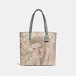 TOTE WITH FLORAL ELVIS™ - f25880 - SILVER/CHALK MULTI
