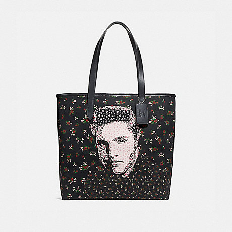 COACH f25880 TOTE WITH FLORAL ELVIS™ SILVER/BLACK MULTI