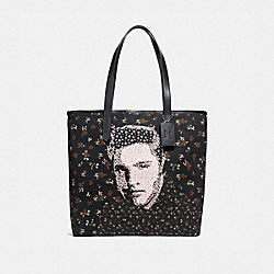 TOTE WITH FLORAL ELVIS™ - f25880 - SILVER/BLACK MULTI