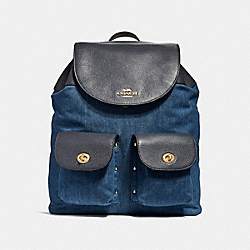 COACH F25883 Billie Backpack DENIM MULTI/LIGHT GOLD