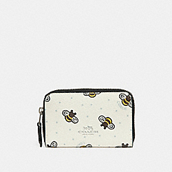 COACH F25885 Zip Around Coin Case With Bee Print CHALK MULTI/SILVER