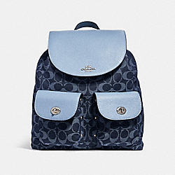 BILLIE BACKPACK IN SIGNATURE DENIM - f25892 - SILVER/DENIM