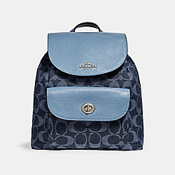 COACH F25893 Mini Billie Backpack In Signature Denim SILVER/DENIM
