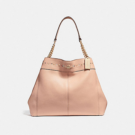 COACH f25894 LEXY CHAIN SHOULDER BAG WITH FLORAL TOOLING NUDE PINK/LIGHT GOLD