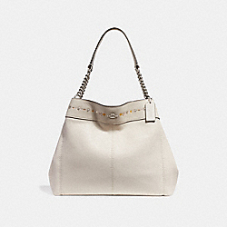 LEXY CHAIN SHOULDER BAG WITH FLORAL TOOLING - f25894 - SILVER/CHALK