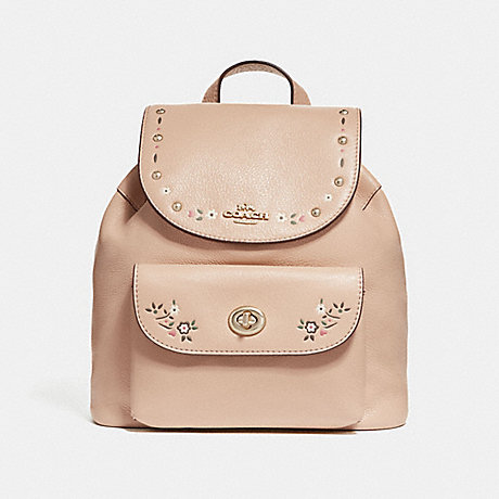 COACH f25895 MINI BILLIE BACKPACK WITH FLORAL TOOLING NUDE PINK/LIGHT GOLD