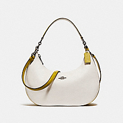 EAST/WEST HARLEY HOBO IN COLORBLOCK - f25896 - CHALK/CHARTREUSE/BLACK ANTIQUE NICKEL