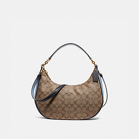 COACH f25897 EAST/WEST HARLEY HOBO IN COLORBLOCK SIGNATURE CANVAS KHAKI/MIDNIGHT POOL/LIGHT GOLD