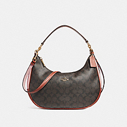 EAST/WEST HARLEY HOBO IN COLORBLOCK SIGNATURE CANVAS - f25897 - BROWN/BLUSH TERRACOTTA/LIGHT GOLD