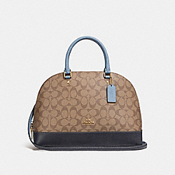 COACH F25898 Sierra Satchel In Colorblock Signature Canvas KHAKI/MIDNIGHT POOL/LIGHT GOLD