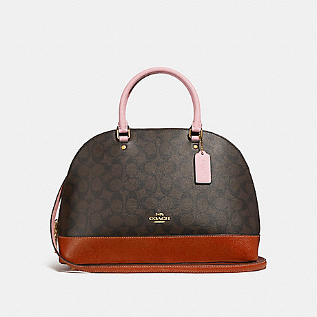 f1fe0f0b06a3 COACH f25898 SIERRA SATCHEL IN COLORBLOCK SIGNATURE CANVAS BROWN BLUSH  TERRACOTTA LIGHT GOLD