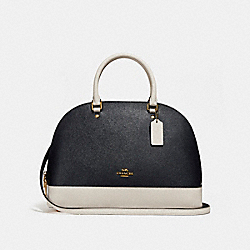 SIERRA SATCHEL IN COLORBLOCK - f25899 - MIDNIGHT/CHALK/Light Gold