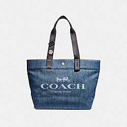 COACH F25902 - TOTE WITH HORSE AND CARRIAGE SILVER/DENIM