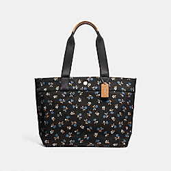 COACH F25903 Tote With Floral Print BLACK/MULTI/SILVER