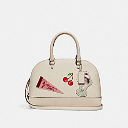 MINI SIERRA SATCHEL WITH AMERICAN DREAMING MOTIF PATCHES - f25911 - CHALK MULTI/SILVER