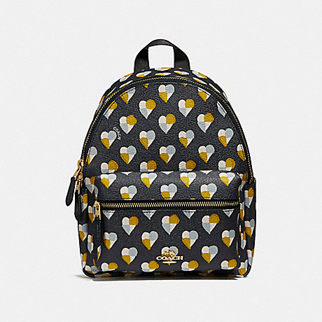 COACH f25915 MINI CHARLIE BACKPACK WITH CHECKER HEART PRINT MIDNIGHT MULTI/LIGHT GOLD