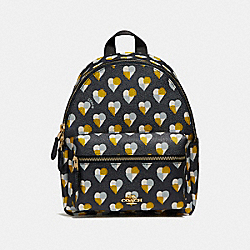 COACH MINI CHARLIE BACKPACK WITH CHECKER HEART PRINT - MIDNIGHT MULTI/LIGHT GOLD - F25915
